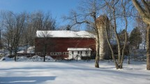 vernon valley farm – barn and silo in snow