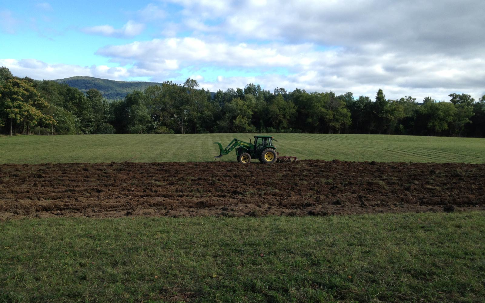 vernon valley farm - tractor in field